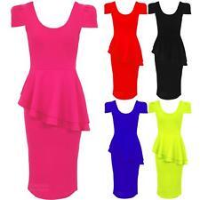 Ladies U Neck Cap Sleeve Asymmetric Side Slant Peplum Bodycon Party Dress