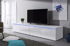 TV-Möbel Lowboard Bank LUV DOUBLE mit LED, Hochglanz Weiß Schwarz Grau, 200 cm