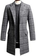 Mens Luxury Dandy Modern Slim Fit Glen Check Long Coat Blazer Jacket Jumper T083