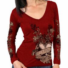 Ladies Long Sleeve Let's Ride HEART Top Womens Biker Motorcycle RED Vee t-shirt