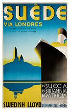 Poster Vintage Suecia Reino Unido Cruise Line A3/A2 impresión