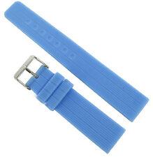 20mm Trendy Light Blue Rubber Silicone Waterproof Flat Stripe Watch Band Strap 6