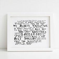 My Bloody Valentine Poster, Loveless, Framed Original Art, Album Lyrics Print