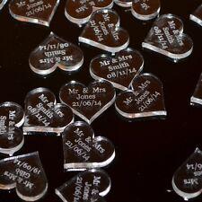 Personalizado 25mm Acrílico Transparente Corazón Boda Decoración Mesa,Vintage