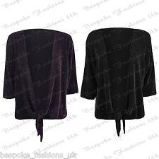 Ladies Womens 3/4 Sleeve Lurex Sparkle Tie Up Bolero Shrug Top Plus Size 14-28