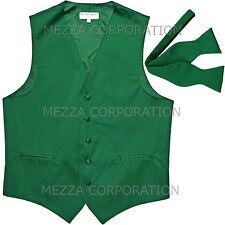 New Men's Formal Vest Tuxedo Waistcoat with free style selftie Bowtie emerlad