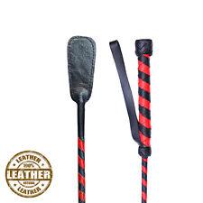 Genuine Leather FRUSTE fatto a mano CAVALLO FRUSTINO intrecciato Stick Jumping Pipistrello Rosso