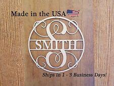 Wood Last Name, Vine Monogram, Wreath, Unfinished Wood, Wedding Gift, LD1001