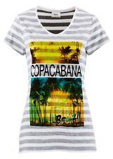 BPC Camiseta para señoras Estampado Rayas Manga Corta Blusa Túnica Gris Blanco