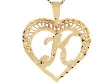 10k or 14k Real Gold Filigree Beautiful Heart Letter K Initial Slide Pendant