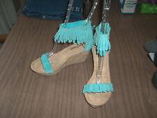 NWOB Aqua Suede MINNETONKA Ankle Strap Wedge Zip Sandals Size 5 and 6