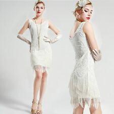 US STOCK Gatsby vintage unique White Wedding Beaded 1920s Flapper Dress