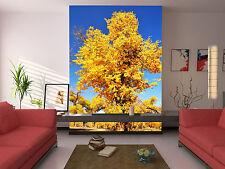 3D Gelbe Blätter Baum Fototapeten Wandbild Fototapete Bild Tapete Familie