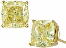 2.50 Ct Fancy Canary Yellow Cushion Diamond Studs Earrings Man Made 14k Yellow G
