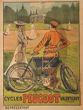 PLAQUE ALU REPRODUISANT UNE AFFICHE CYCLES PEUGEOT VALENTIGNEY MOTO 2 ROUES