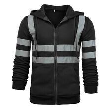Men Winter Hoodie Jacket Zip Long Sleeve Reflective Stripe Sport Coat Outwear