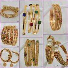 Gold plated Polki Kundan pearl bangles kangan bracelet Indian bridal bollywood