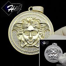 MEN 925 STERLING SILVER LAB DIAMOND SILVER/GOLD HEAD ROUND CHARM PENDANT*SP42