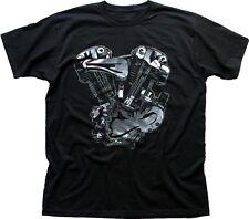 V-twin moteur moto harley indian black t-shirt imprimé FN0209