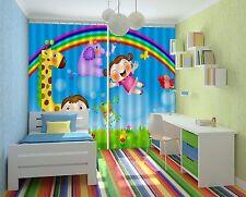3D Girafe Boy 45 Blockout Photo Rideau Imprimé rideaux rideaux tissu fenêtre UK