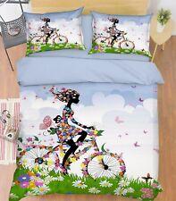 3D Flower Girl Bike 9 Bed Pillowcases Quilt Duvet Cover Set Single Queen King CA