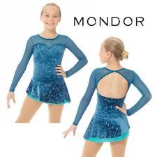 Mondor Romantic Blue Glitter Velvet Figure Skating Competition Dress Many Sizes