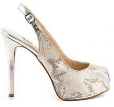 Women's Shoes GUESS HUELA Platform Peep Toe Pump Leather White Multi