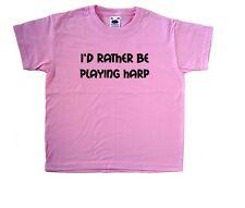 I'd Piuttosto Essere giocare ARPA ROSA KIDS T-SHIRT