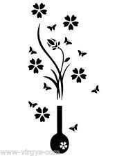 Sticker Nature Fleur dans vase et Papillons,Tailles et Coloris Divers (FLEUR037)