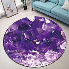 Purple Crystal Quartz Stone Marble Round Floor Mat Bedroom Living Room Area Rugs