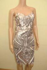 New Lipsy Sequin Bandeau Nude Pink Mini Dress Sz UK 10 12 14 18