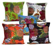5/10/25 pcs Kantha Stitch Floral Work Multi Beautiful Cushion Covers Lot