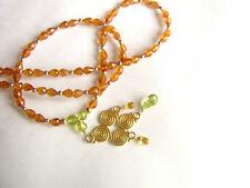 CeS Kette Spessartin Mandarin - Granat in Orange, Peridot, gelber Saphir / Safir