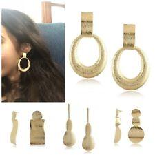 Large Fashion Bold Metal Drop Earrings Gold