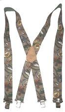 """GARDENING TOOLS American Made Custom 2"""" Wide Suspenders Metal Clips BROWN"""