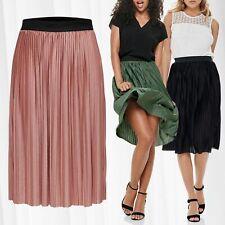 JDY Womens Pleated Skirt Single Jersey Midi Skirt Long Summer elastic waistband
