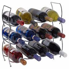 12 or 24 Wine Bottle Rack Holder Chrome Stackable Vertical Storage Display Shelf