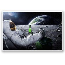2 X 10 Cm Astronauta Espacio pegatina de vinilo Ipad Laptop Luna Tierra Broma Cerveza # 5082