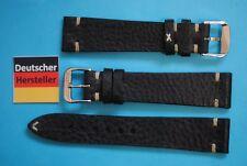 Noir Foot Look Vintage Bracelet de Montre 19mm Noir avec Nature Couture