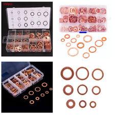 150-300pcs Copper Washer Gasket Set Flat Ring Seal Assortment Kit Box M5-M22