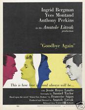 Goodbye again Yves Montand Ingrid Bergman movie poster