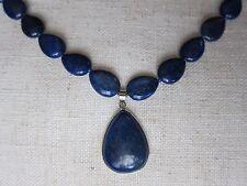 Lapis Lazuli Necklace Gem-stones with Pendant; Collar Necklace Bib.