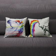 Rainbow Animal Cotton Linen Throw Pillow Case Cushion Cover Home Room Sofa Decor