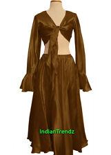 Gold Satin Belly Dance Skirt + Top Set Tie Ruffle Dress Tribal Full Circle