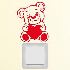 10621 Pegatina pared interruptor luz ADHESIVO TEDDY CON El Corazón Oso Amor