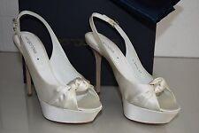 $875 New Sergio Rossi Ivory Satin STRASS Wedding Bridal Platform Shoes 39