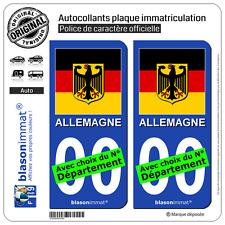 2 Stickers autocollant plaque immatriculation Auto : Allemagne Armoiries Drapées