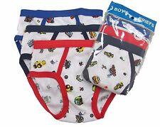 3 Boy's Briefs in a Pack Underwear Cotton Blend White W/Prints Size S M L XL 321