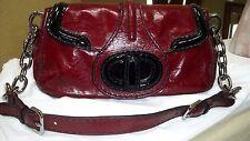 $1,900 NWT Prada Vitello shine Vernice Burgundy/Black Leather bag GORGEOUS