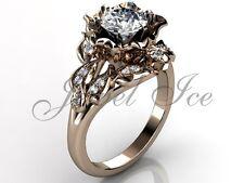 Rose Gold Unique Forever One Moissanite Flower Engagement Ring ERMZ-1058-3